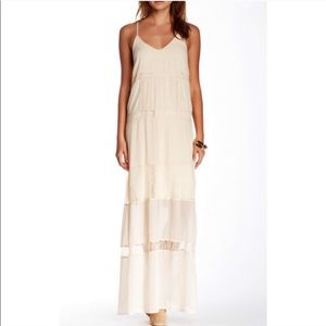 ASTR || cream lace chiffon maxi tank dress size M